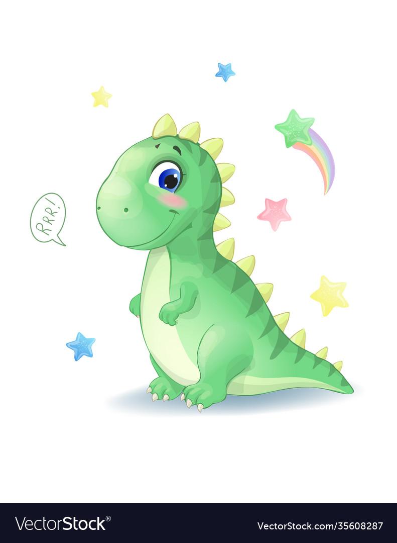 Cute little dinosaur with stars