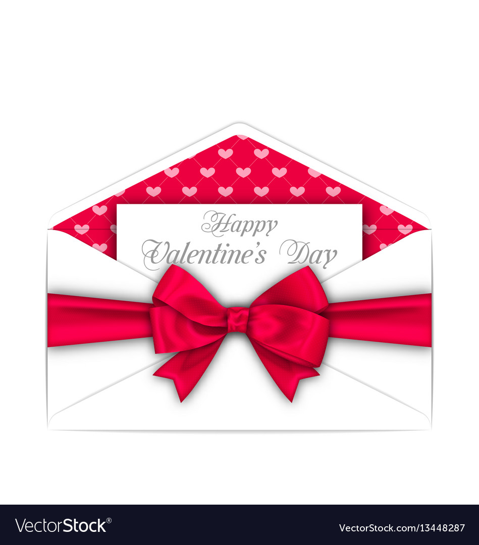 Envelope with celebration card and pink bow ribbon vector image