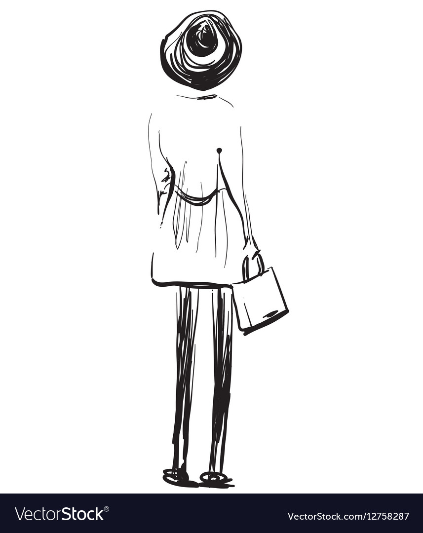 Fashion models sketch girl standing backwards vector image