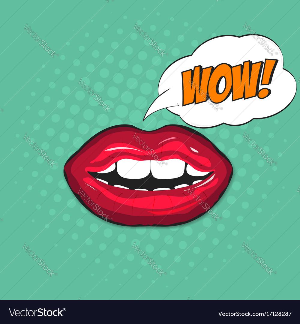 Female lips in pop art style with bubble