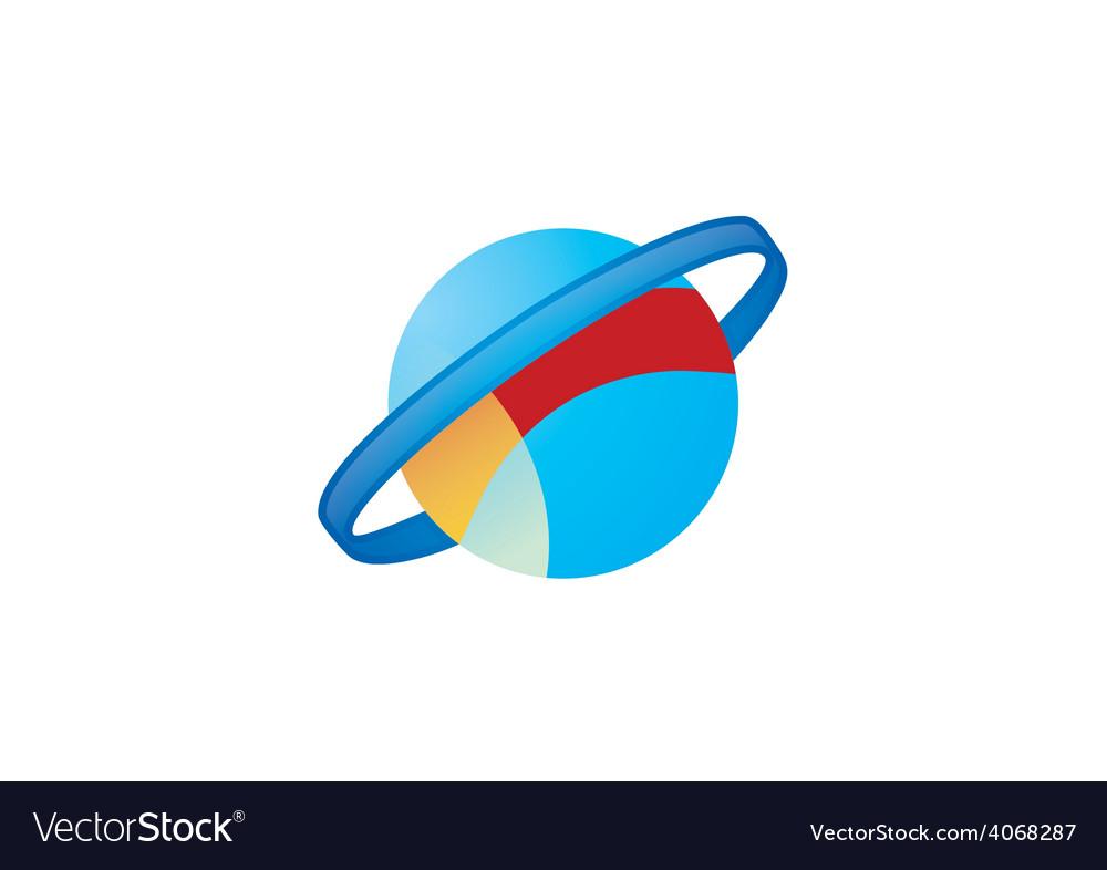 Globe orbit planet logo