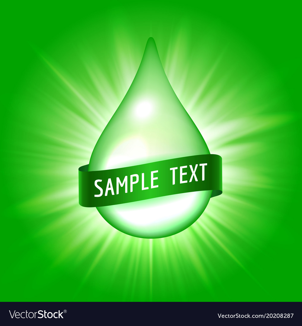 Green drop with ribbon for text