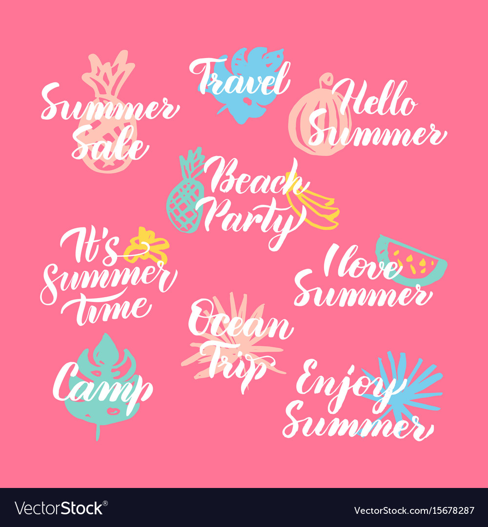 Hello Summer Hand Drawn Quotes Royalty Free Vector Image