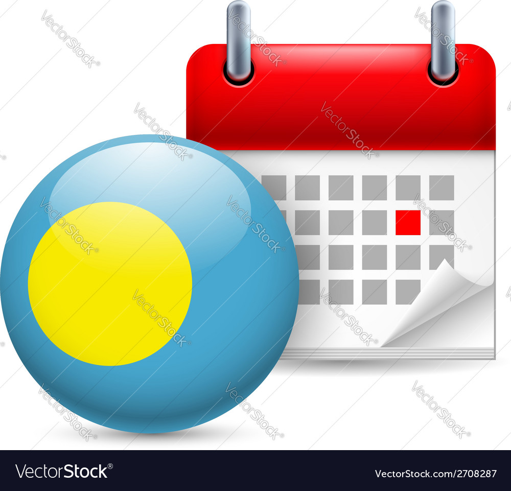 Icon of National Day in Palau vector image