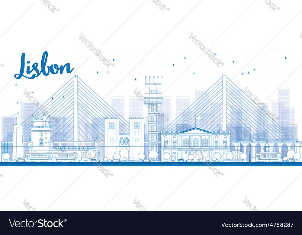 Outline Lisbon city skyline