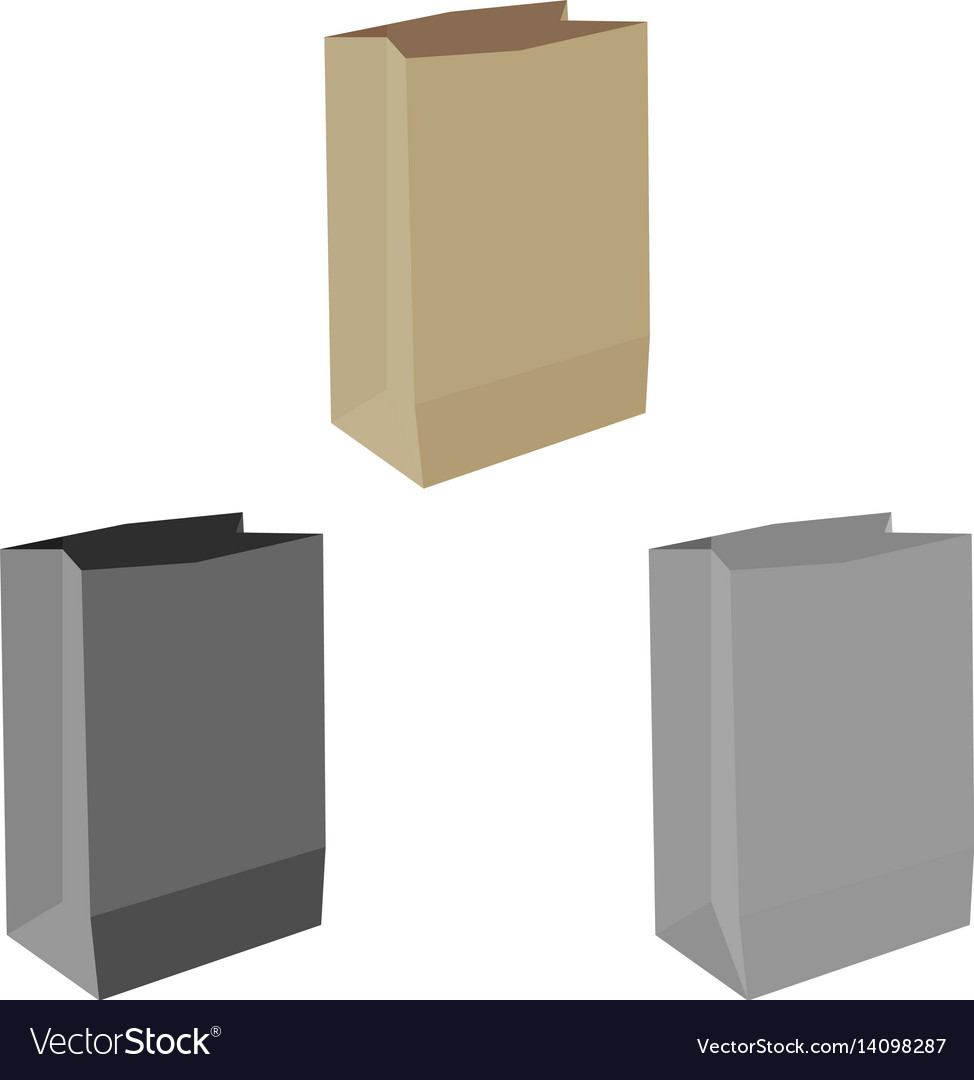Paper bag or sack for buying paper bag or vector image