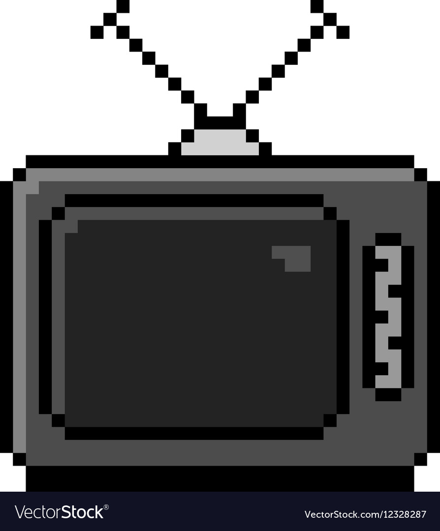 Pixelated old TV with antenna - isolated vector image