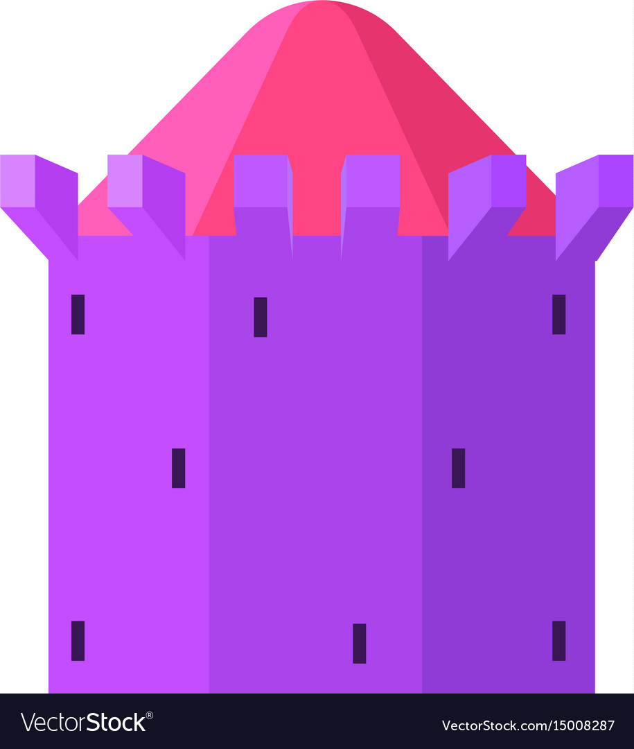 Purple tower with blue roof icon cartoon style