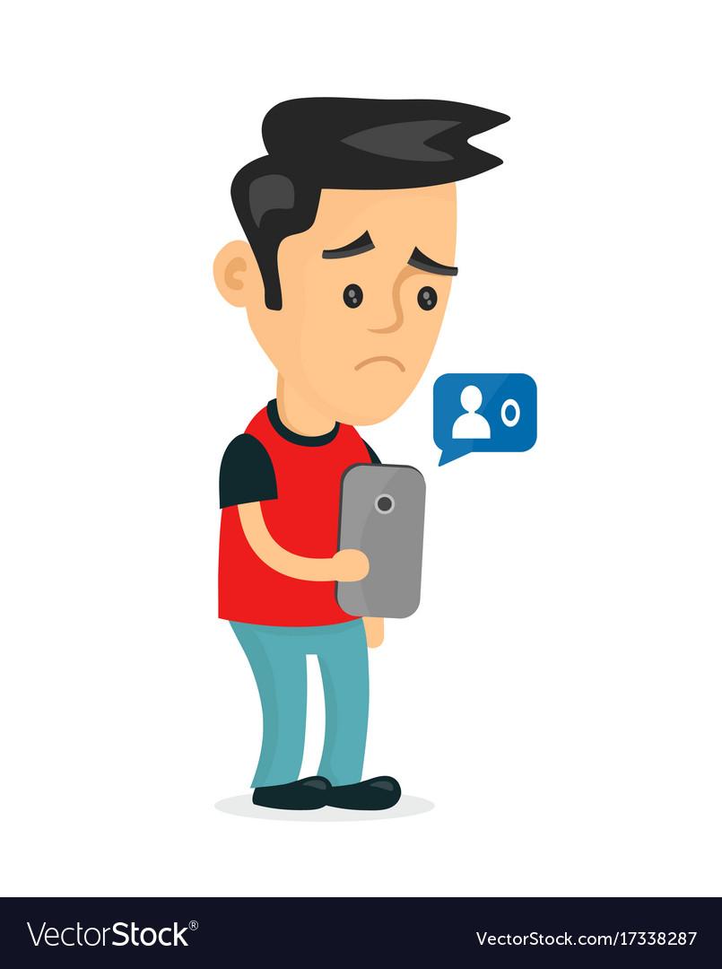 Sad young man holding smartphone