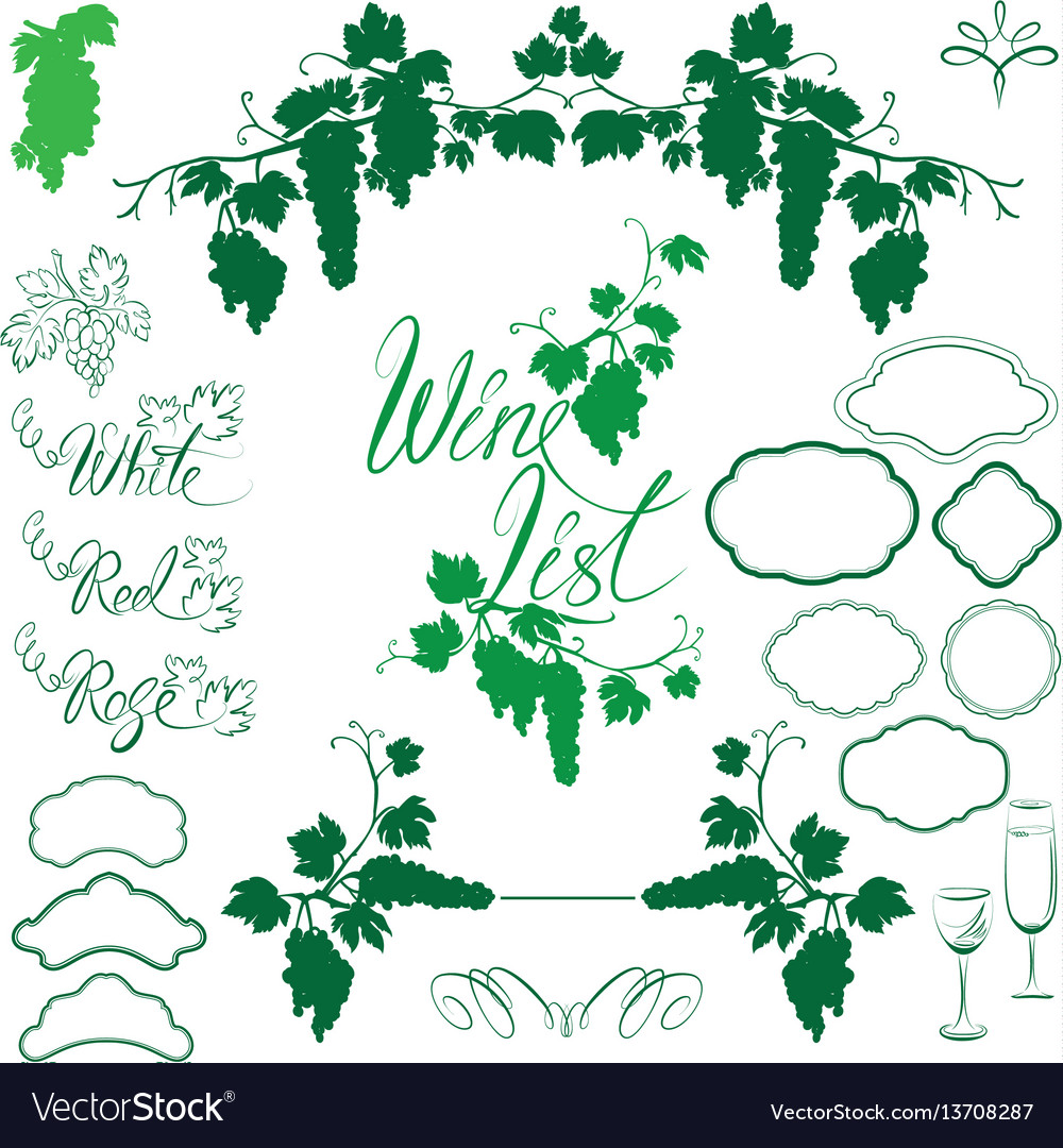 Set of grapes silhouettes frames calligraphic