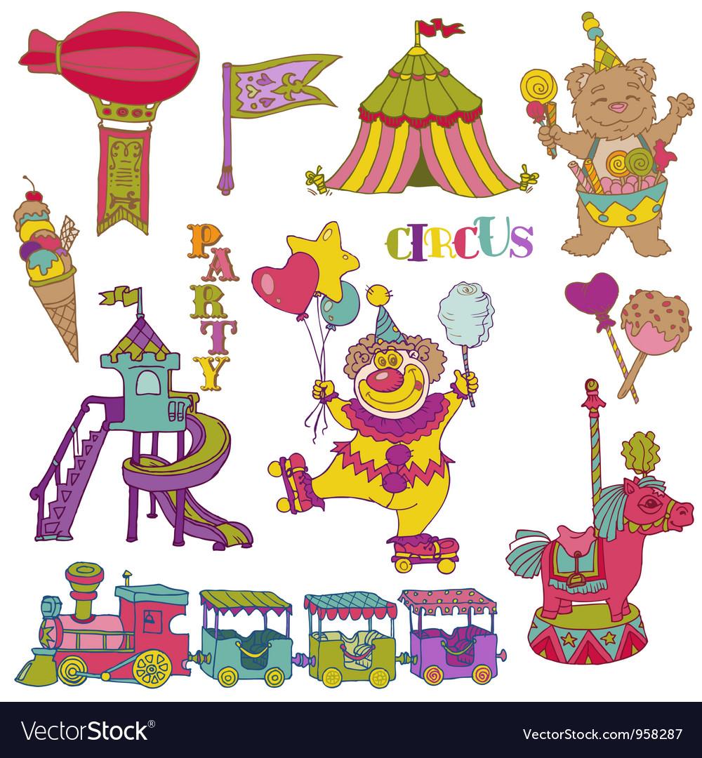 Set Vintage Circus Elements vector image