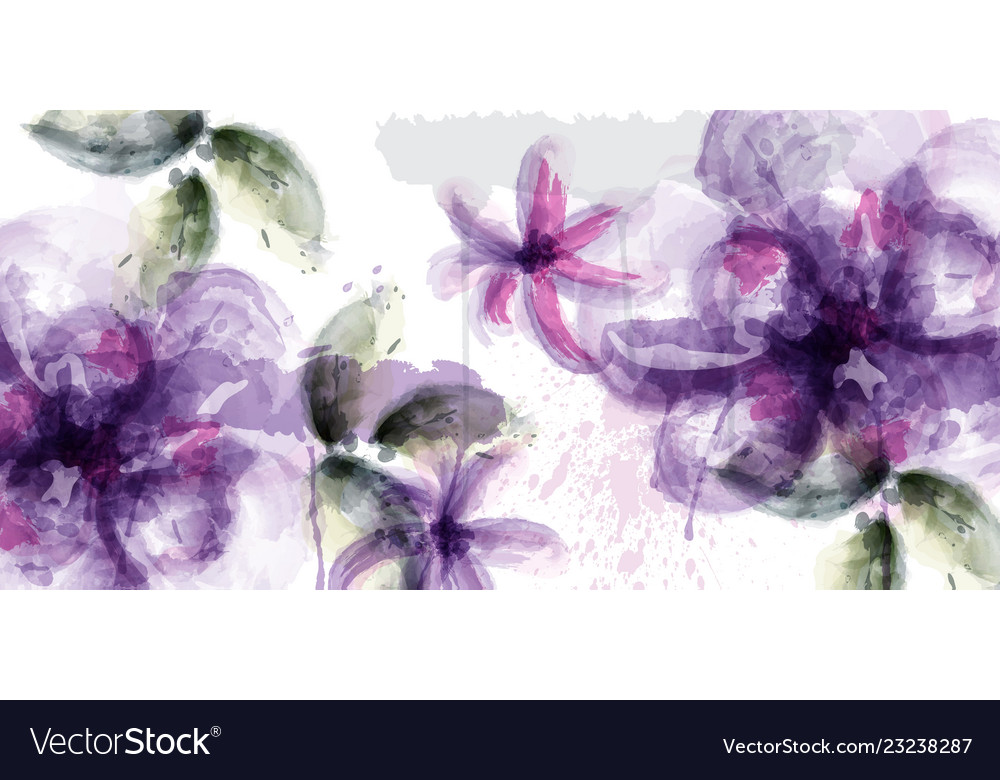Violet flowers watercolor card purple and