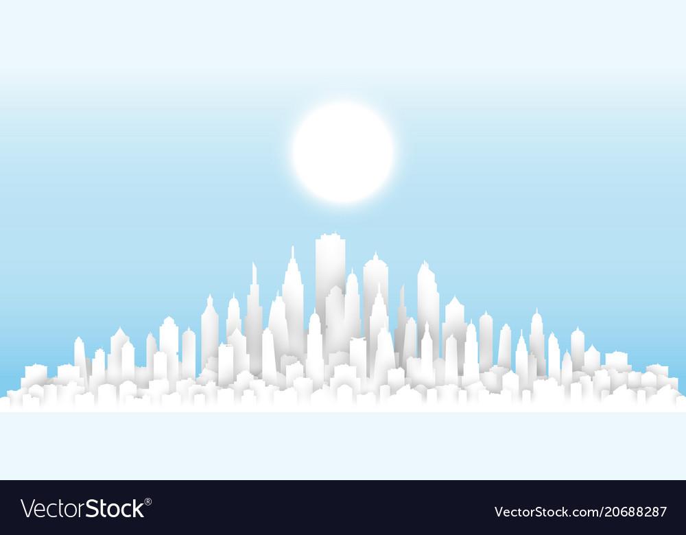White paper cut sunny day cityscape template
