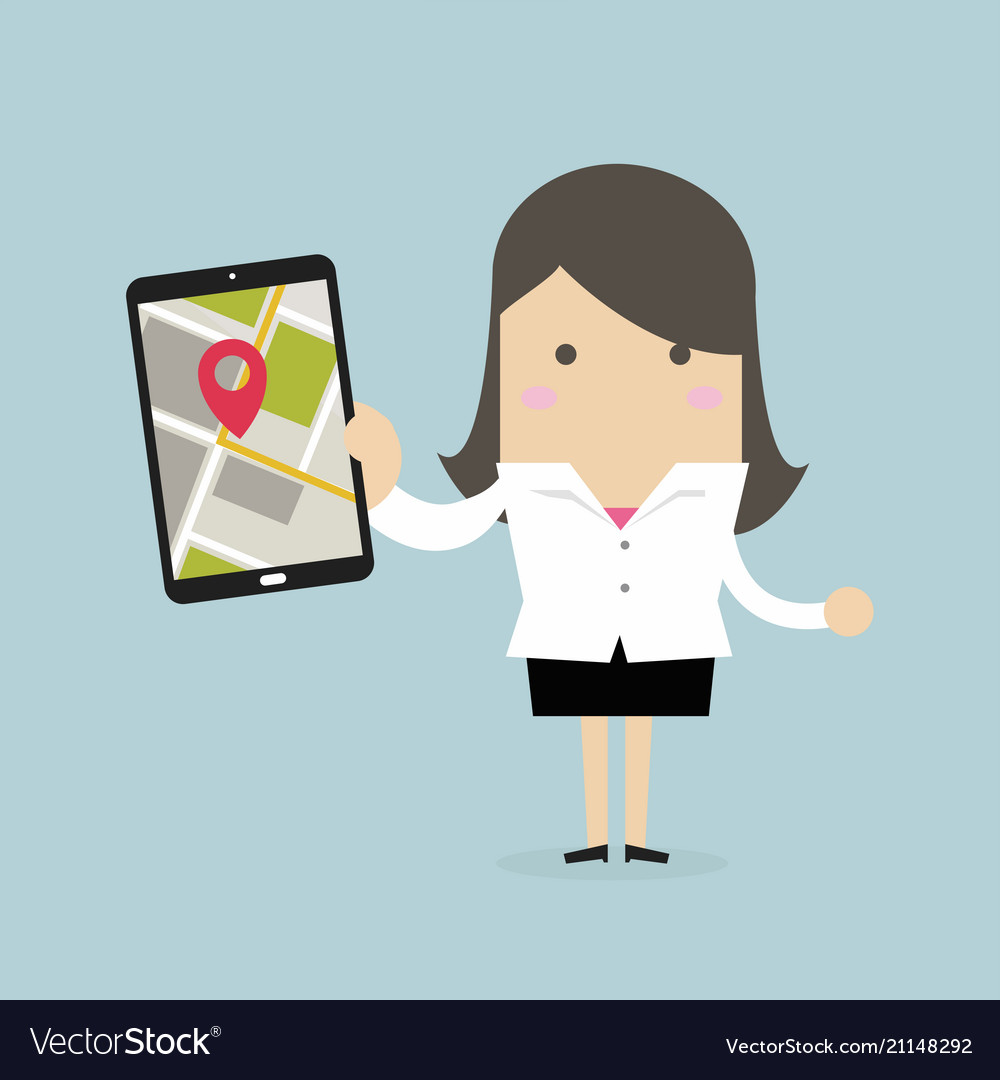 Businesswoman holding tablet with navigation map