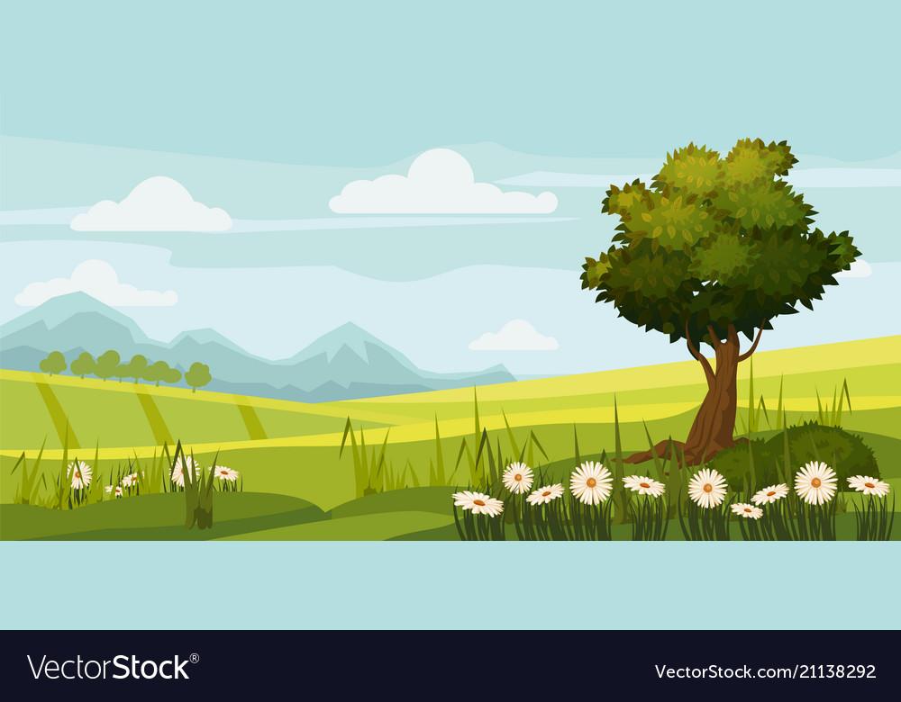 Cute rural landscape tree field daisy flowers