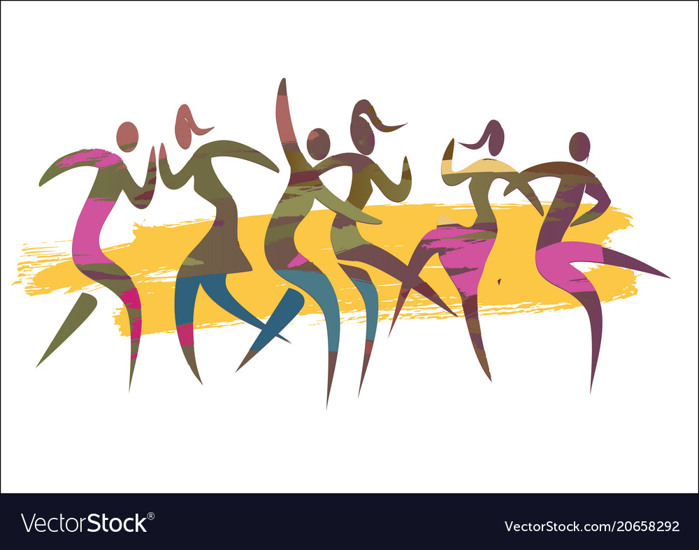 Dancing couples summer disco party vector image