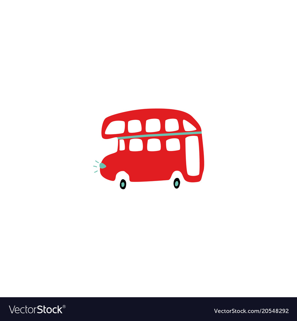 Flat british duble decker red bus isolated