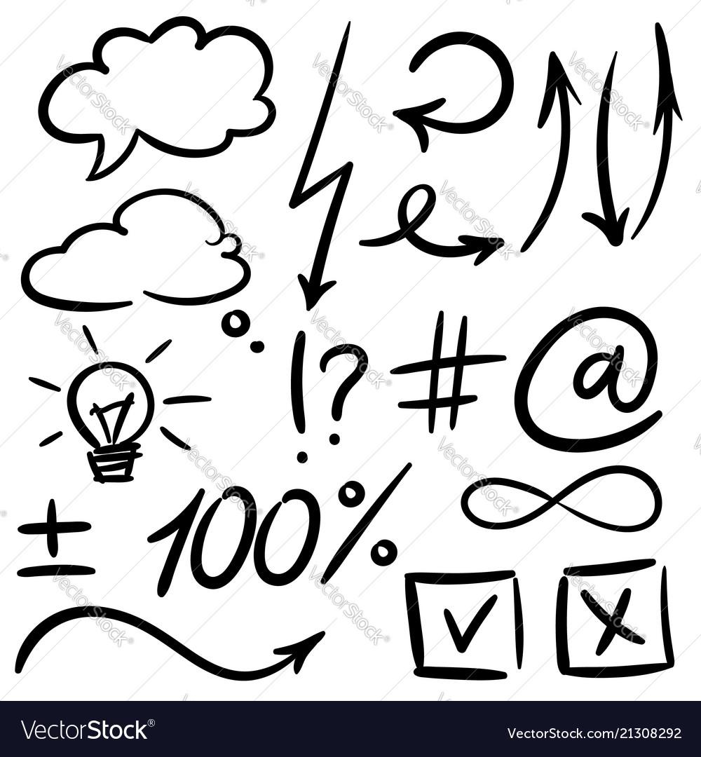 Hand drawn set of sketch speech bubbles
