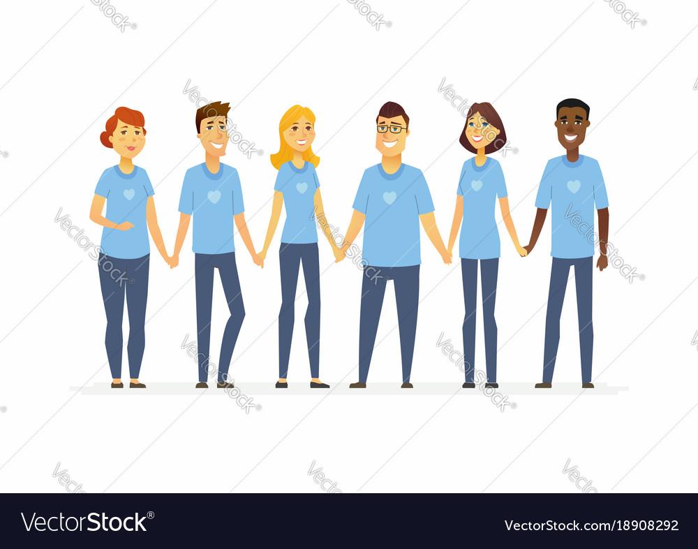 Happy volunteers holding hands - cartoon people