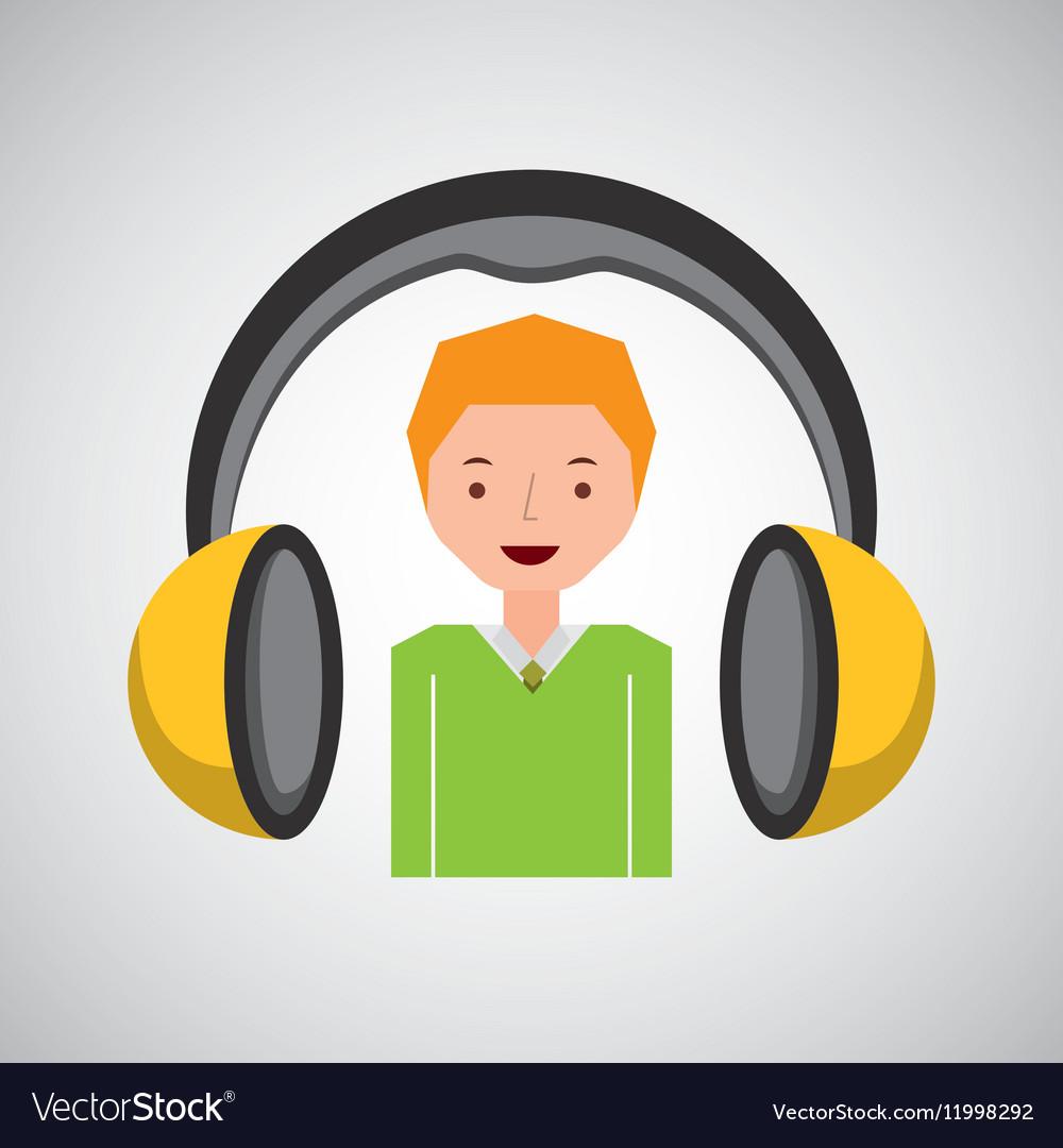 Headphones music cartoon guy young