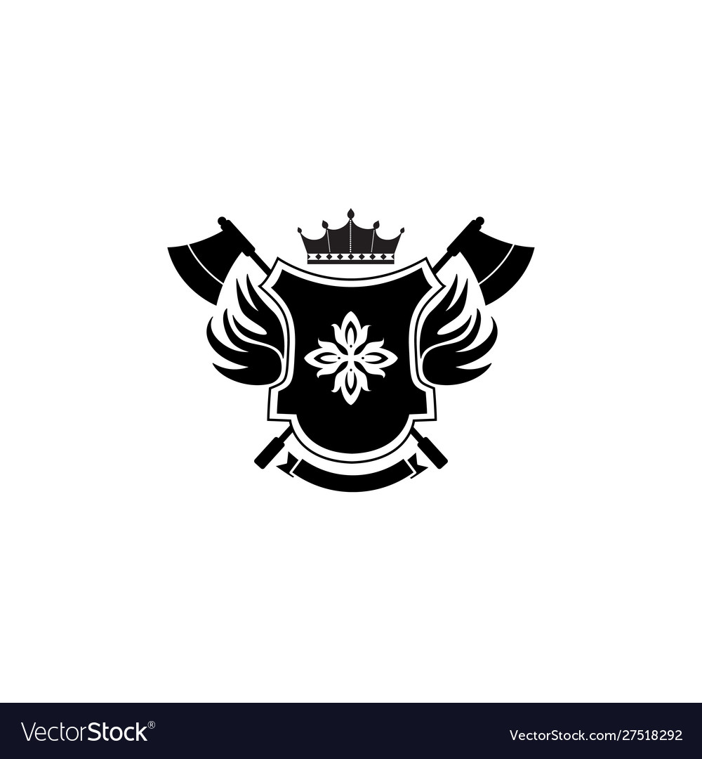 Heraldic shield badge with crown symbol and