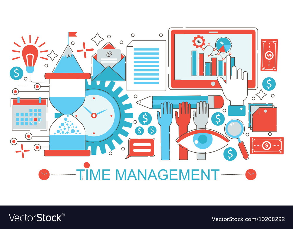 Modern Flat thin Line design Time management