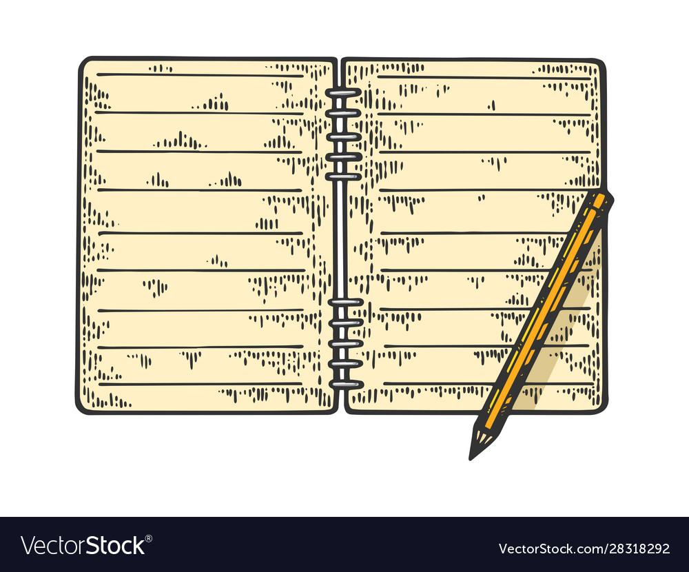 notepad and pencil sketch royalty free vector image
