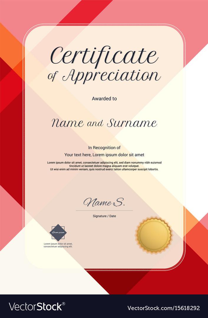 Portrait modern certificate of appreciation vector image yadclub Gallery