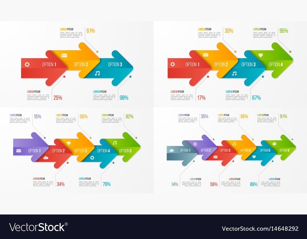 Set of timeline chart infographic templates with vector image
