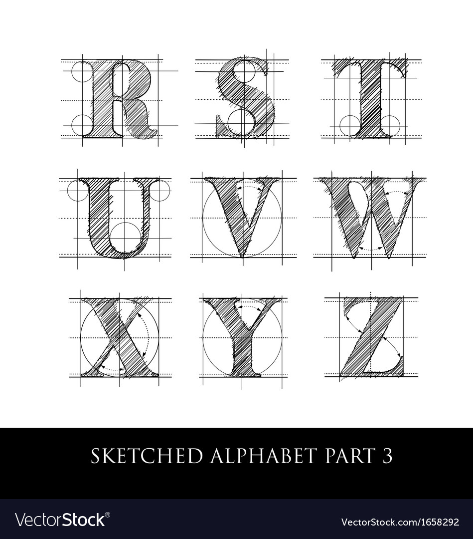 Sketched diagram alphabet set 3
