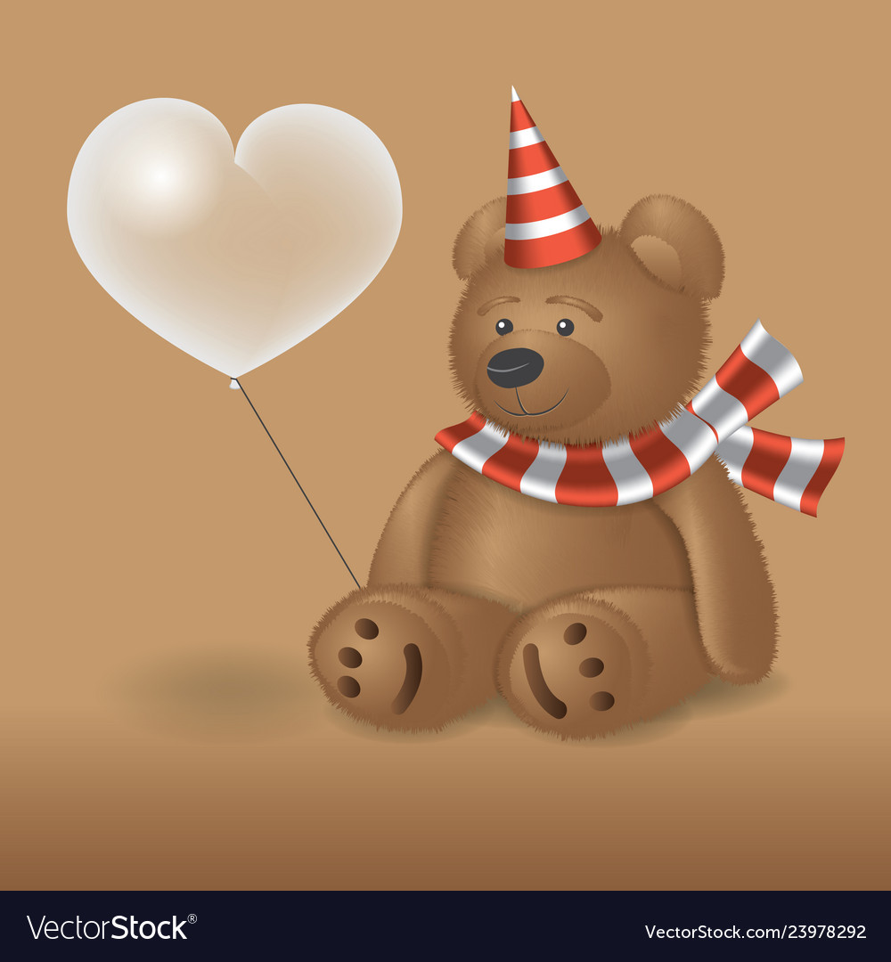 Teddy bear with a ball sitting the background