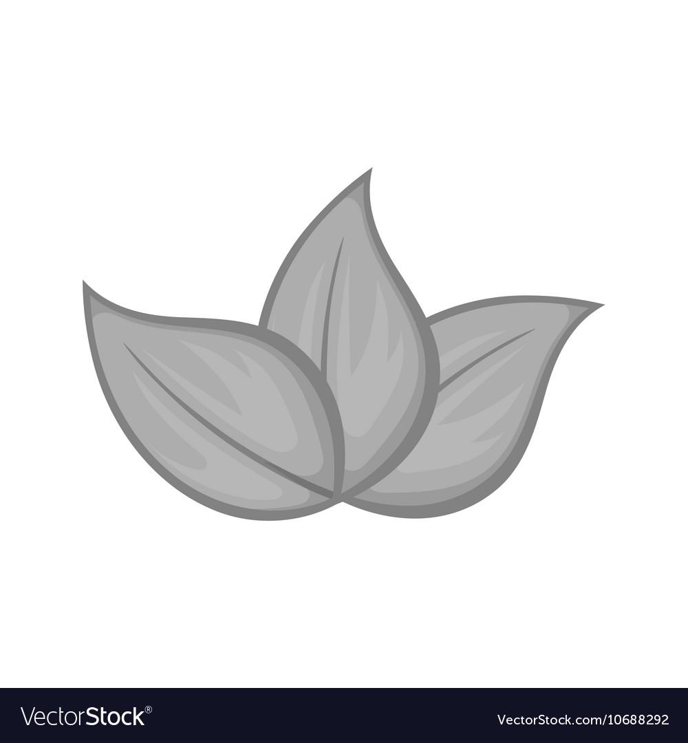Three leaves icon black monochrome style