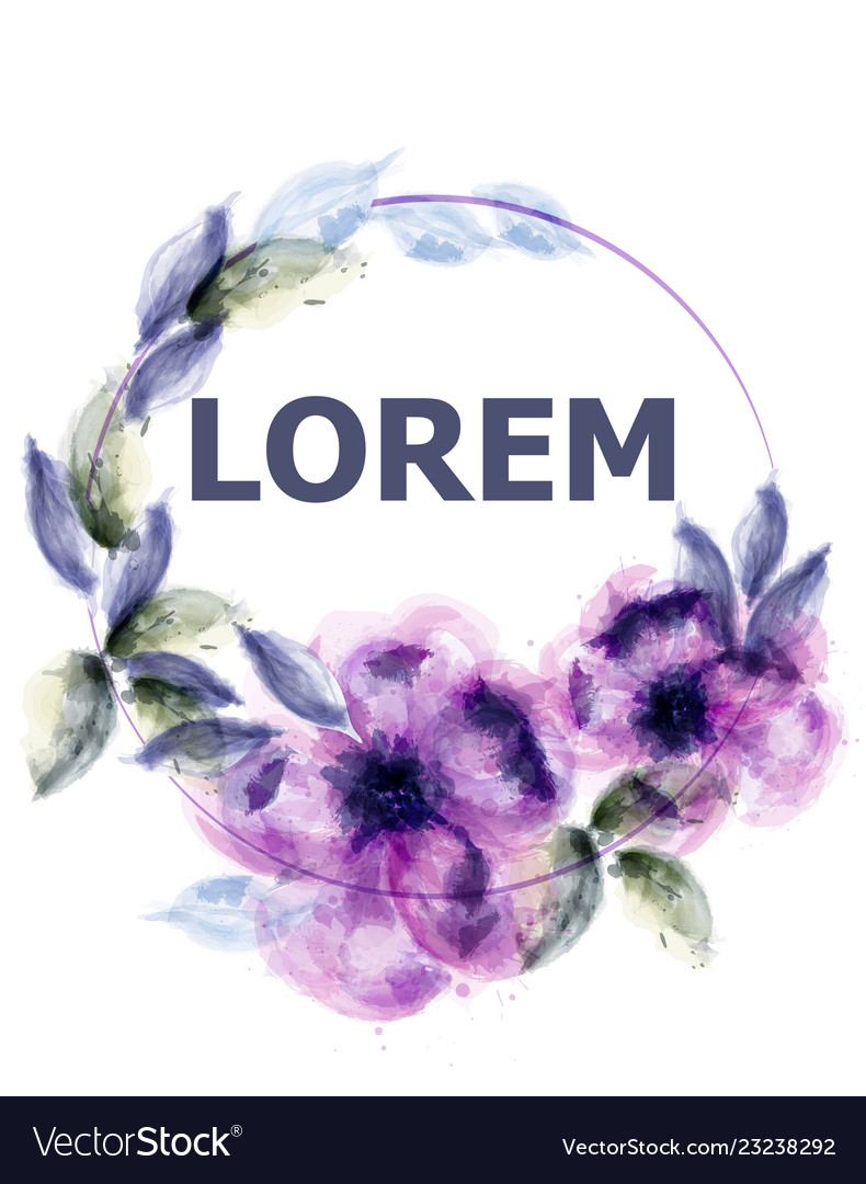 Violet flowers watercolor wreath purple