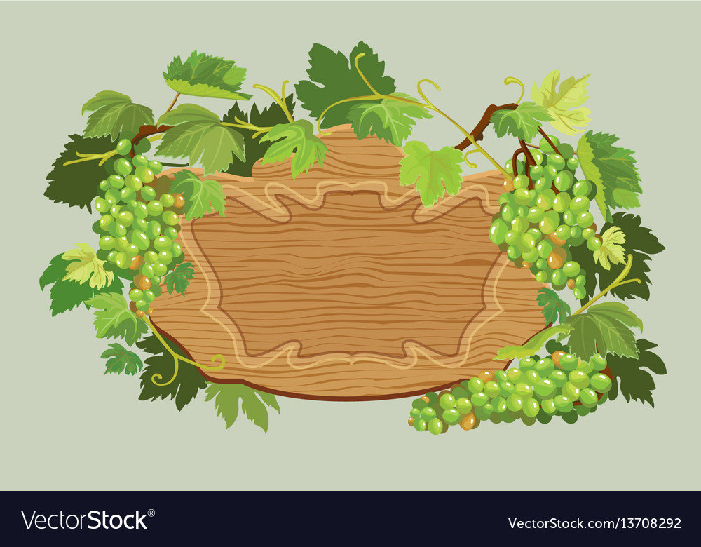 Wooden oval frame with green grapes and leaves