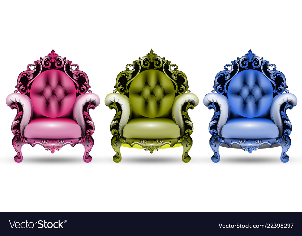 Charmant Baroque Colorful Armchairs 3d Vector Image