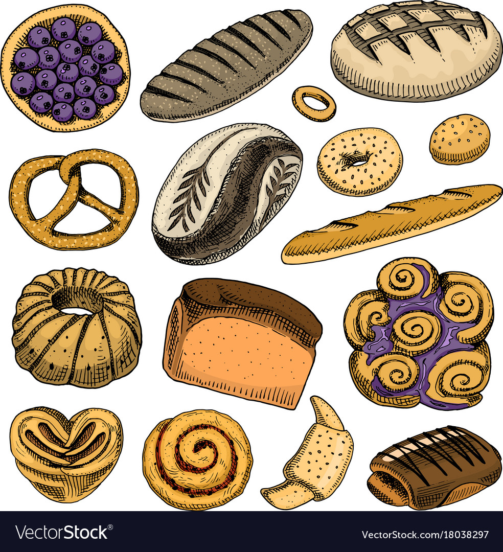 Bread and pastry donut belgian waffles and fruit vector image