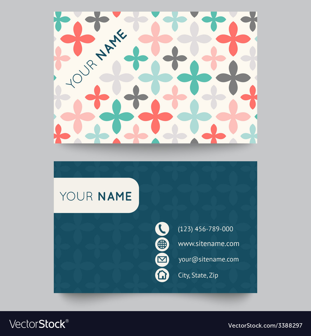 Business card template orange and white pattern
