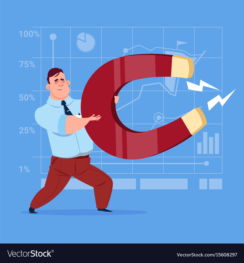 Business man holding magnet pulling success ideas vector image