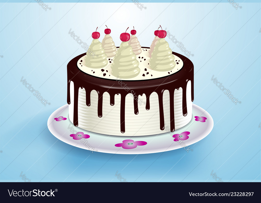 Tremendous Cake With Cream Cocktail Cherry And Chocolate Vector Image Birthday Cards Printable Inklcafe Filternl