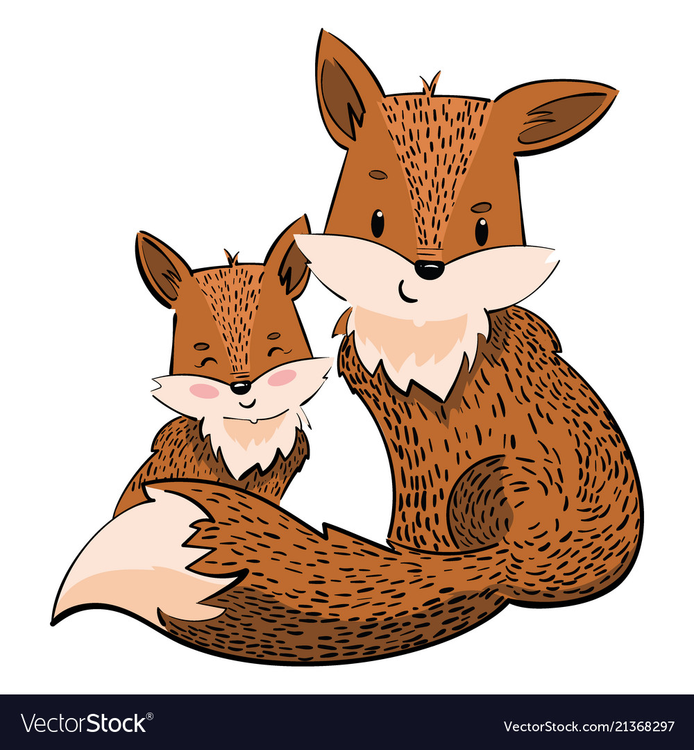 Cartoon family foxes a stylized fox with a fox