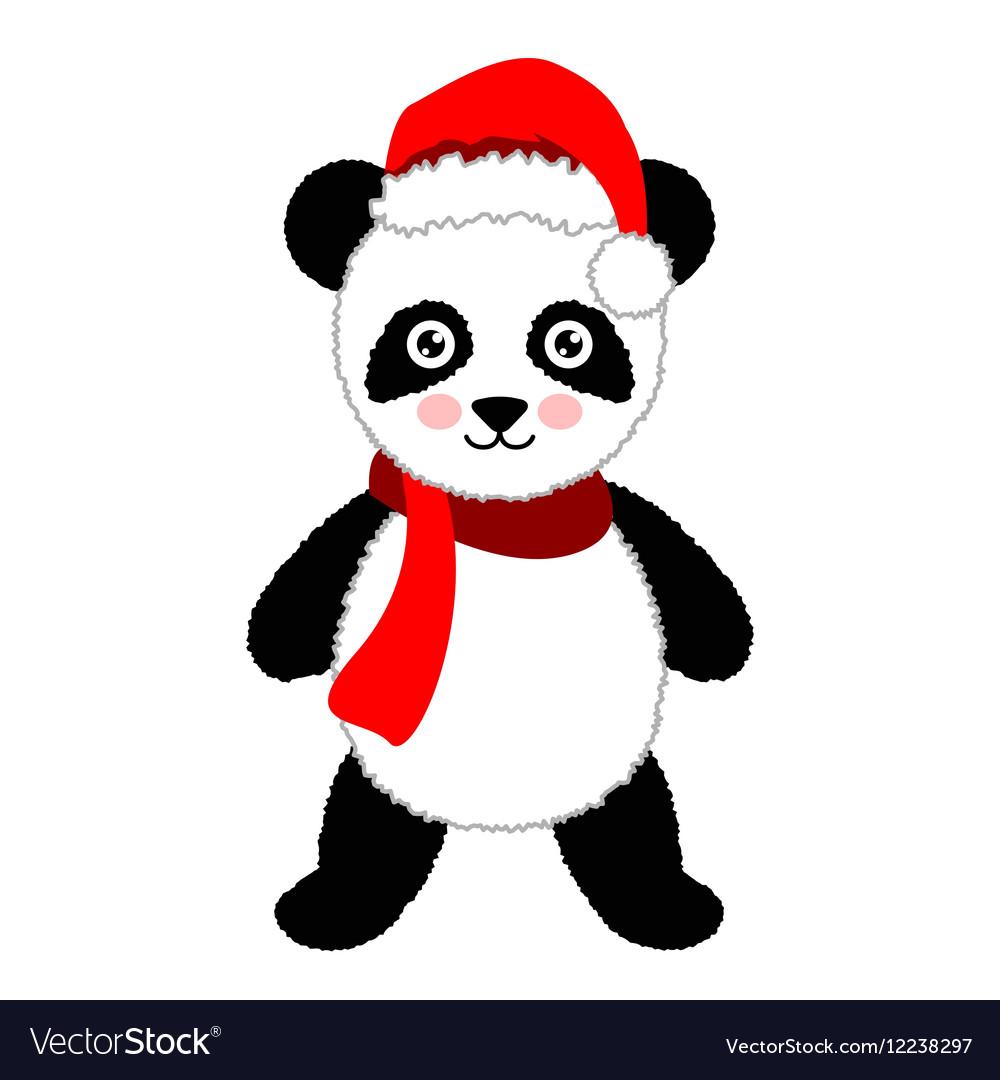 Cartoon panda wearing Santa hat Isolated