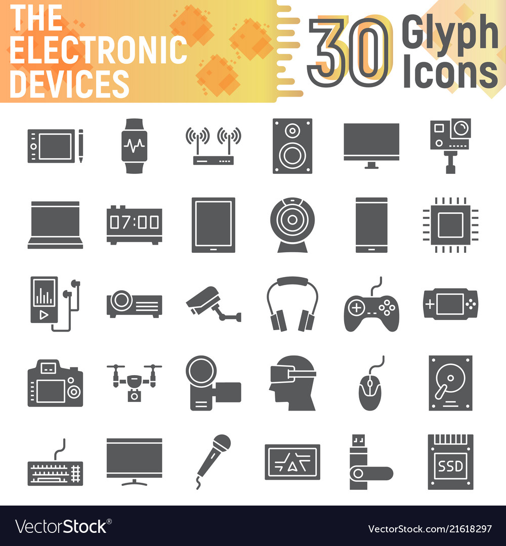 Electronic Devices Glyph Icon Set Media Symbols Vector Image