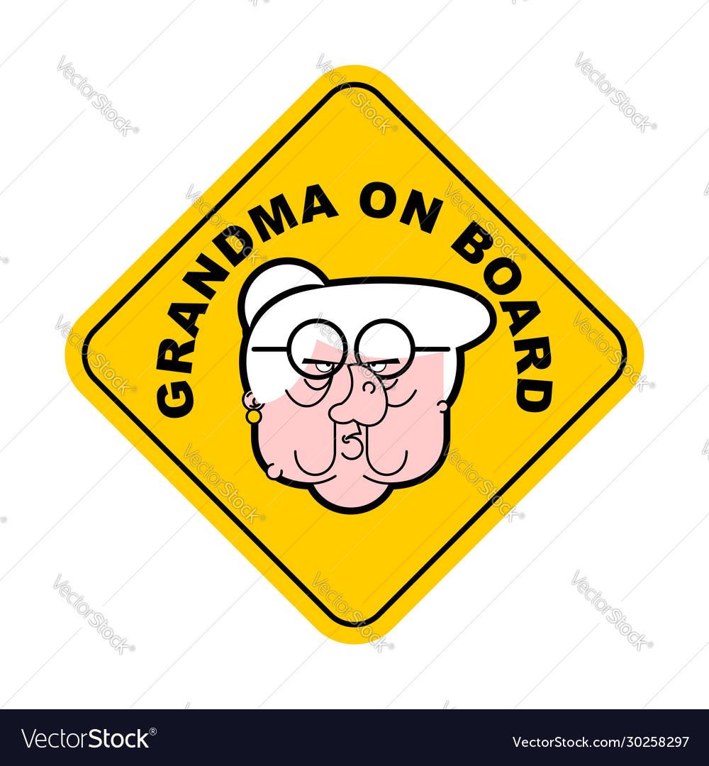 Grandmother On Car Sticker Grandma On Board Vector Image [ 1080 x 1000 Pixel ]
