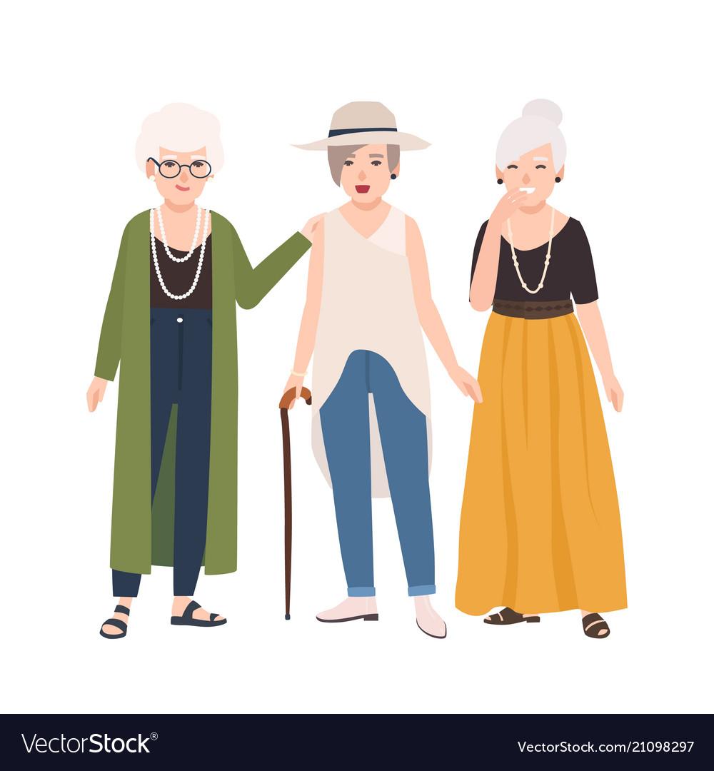 Group of smiling elderly women dressed in elegant