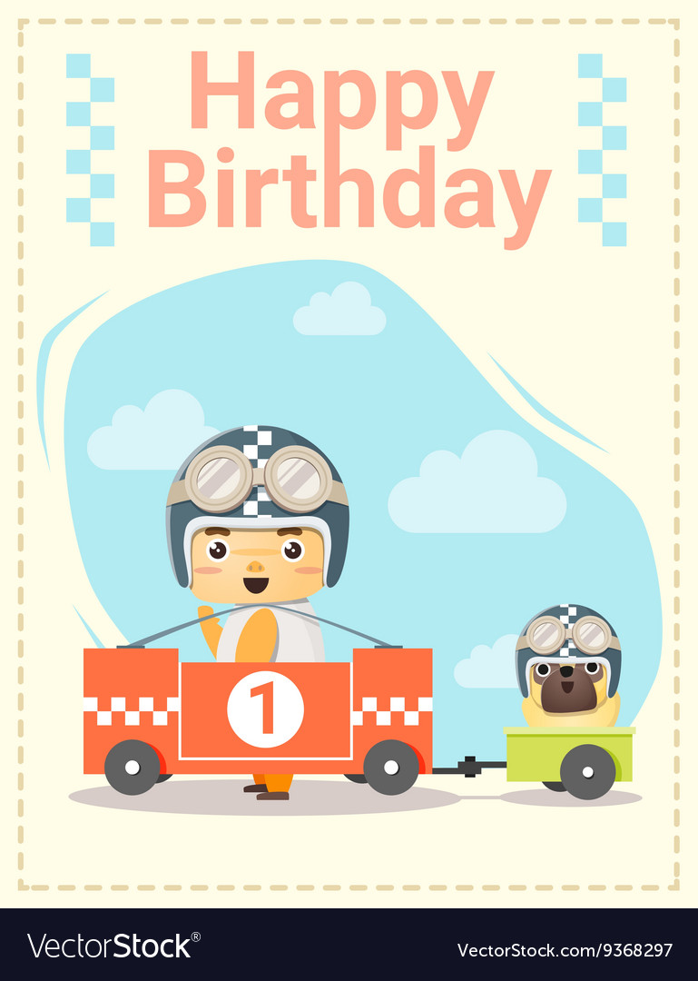 Happy Birthday Card With Little Boy And Friend 3 Vector Image