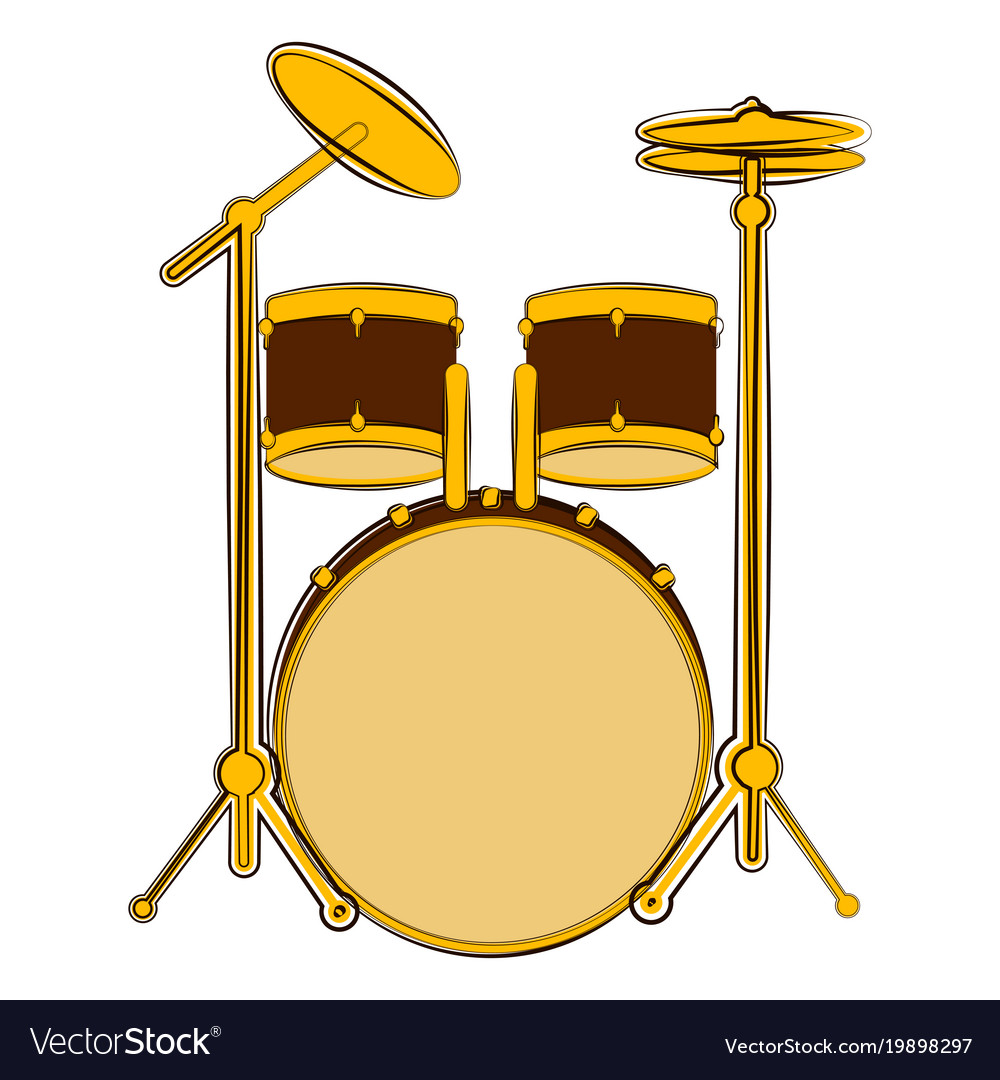 Isolated Drum Set Sketch Musical Instrument Vector Image