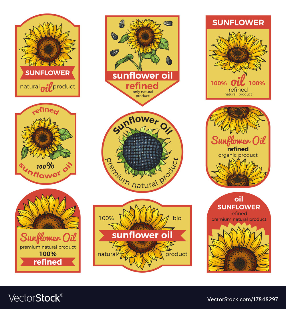 Labels for sunflower oil with