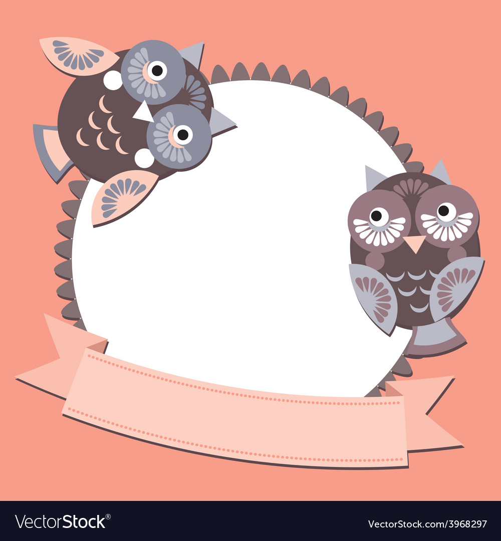Little sweet owl message banners place for your vector image
