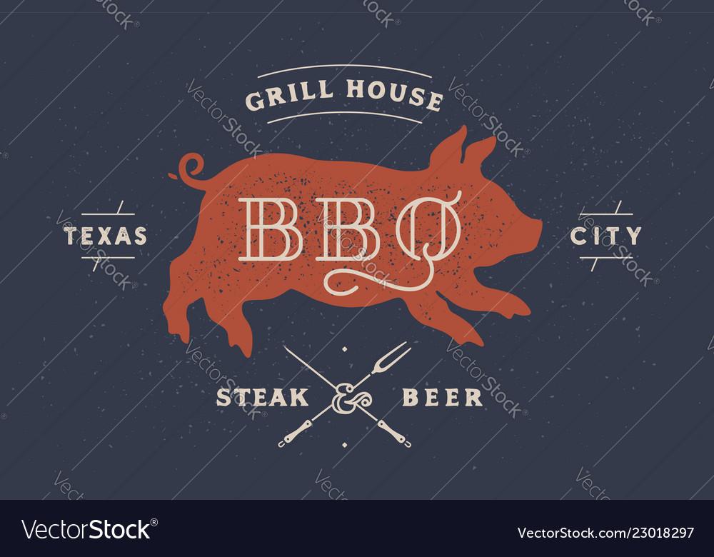 Piggy pig pork vintage label logo sticker