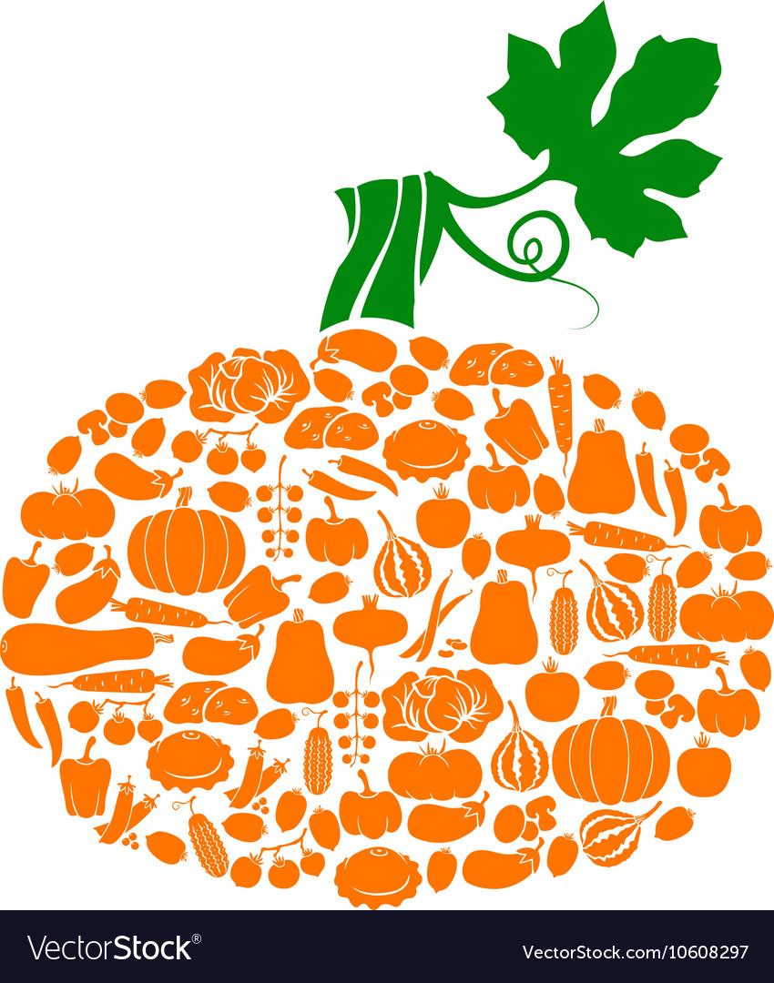 Pumpkin on vegetables vector image